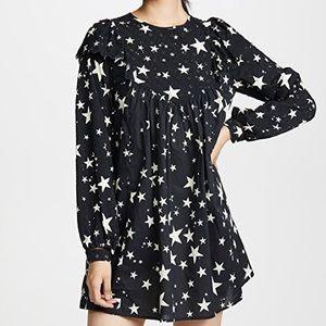 Farm Rio Stardust black mini dress with ruffles S